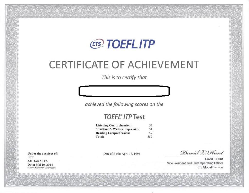 Sertifikat TOEFL ITP atau biasa juga dikenal TOEFL Paper Based Test